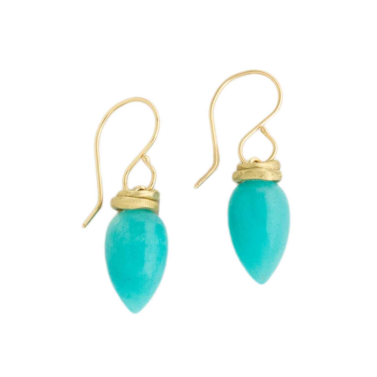 14K Gold Amazonite Drop Earrings