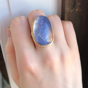 Sterling & 14K Gold Ruffled Edge Open Back Dumortierite Quartz Ring
