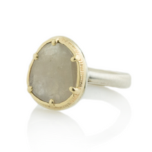 Load image into Gallery viewer, Sterling & 14K Gold Cast Prong Linen Sapphire Ring