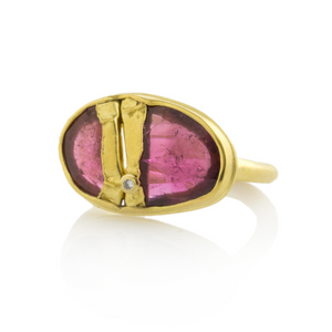 22K Golden Joinery Pink Tourmaline Ring