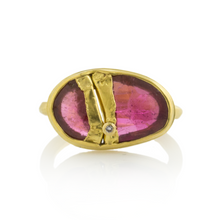 Load image into Gallery viewer, 22K Golden Joinery Pink Tourmaline Ring