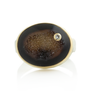 Sterling & 14K Gold Bali Drusy & Diamond Ring