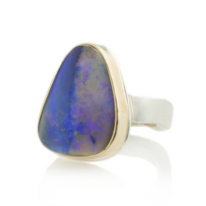 Sterling & 14K Gold Triangular Boulder Opal Ring