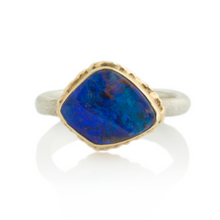 Load image into Gallery viewer, Sterling & 14K Gold Ruffled Edge Boulder Opal Ring