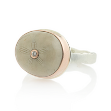 Load image into Gallery viewer, Sterling & 14K Rose Gold Small Fossilized Sea Urchin & Diamond Ring