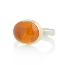 Load image into Gallery viewer, Sterling & 14K Gold Oval Spessartite Garnet Ring