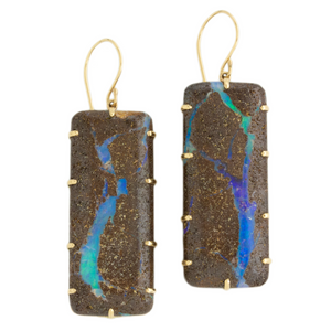 14K Gold Rectangular Boulder Opal Prong Earrings