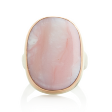 Load image into Gallery viewer, Sterling & 14K Rose Gold Pink Peruvian Opal Ring