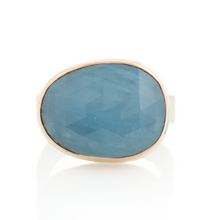 Load image into Gallery viewer, Sterling & 14K Rose Gold Aquamarine Ring