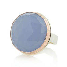Load image into Gallery viewer, Sterling & 14K Rose Gold Large Round Blue Chalcedony Ring