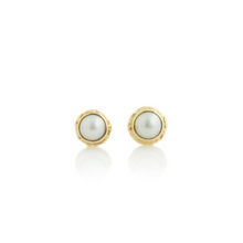 Load image into Gallery viewer, 14K Gold Pearl Post Earrings