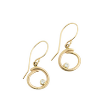 Load image into Gallery viewer, 14K Gold Diamond Curl Earrings