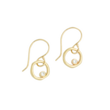 Load image into Gallery viewer, 14K Gold Diamond Organic Circle Earrings