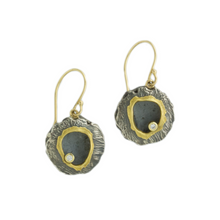 Load image into Gallery viewer, Oxidized Sterling & 18K Gold Diamond Round Lentil Earrings