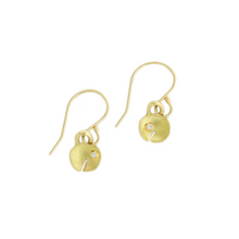Load image into Gallery viewer, 18K Gold Diamond Tiny Bell Earrings