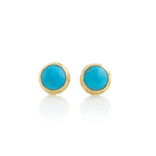 Load image into Gallery viewer, 14K Gold Sleeping Beauty Turquoise Post Earrings