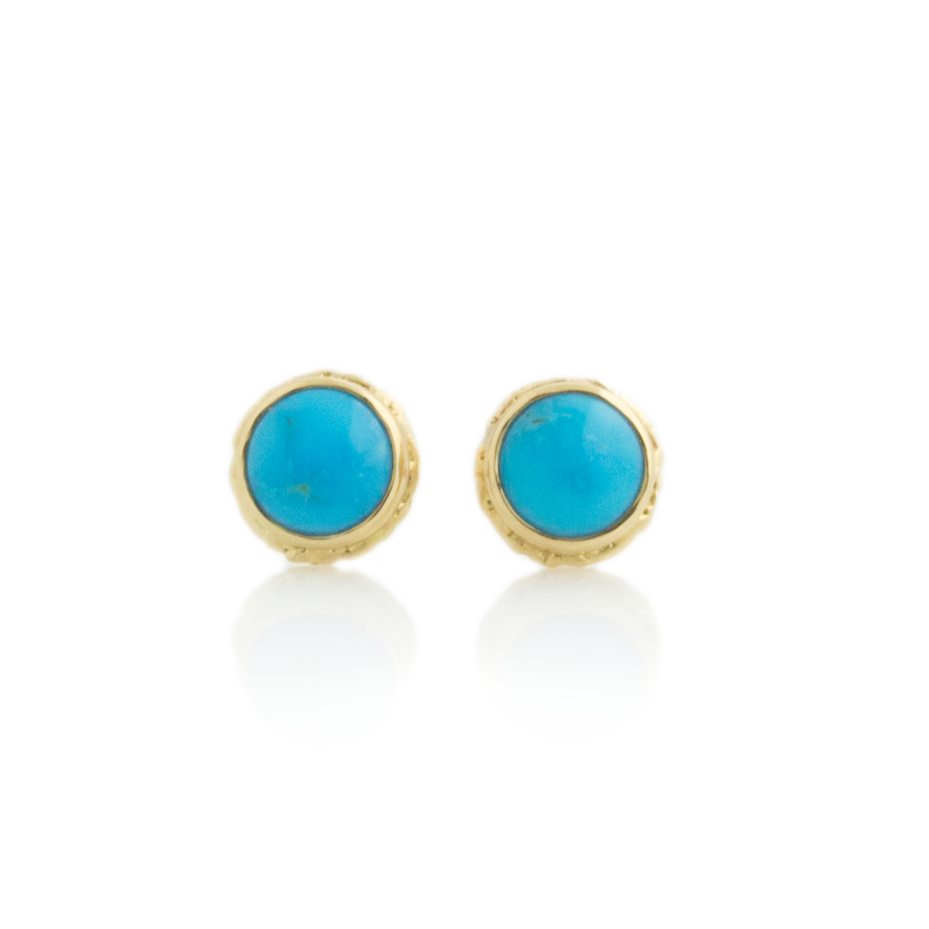 14K Gold Sleeping Beauty Turquoise Post Earrings