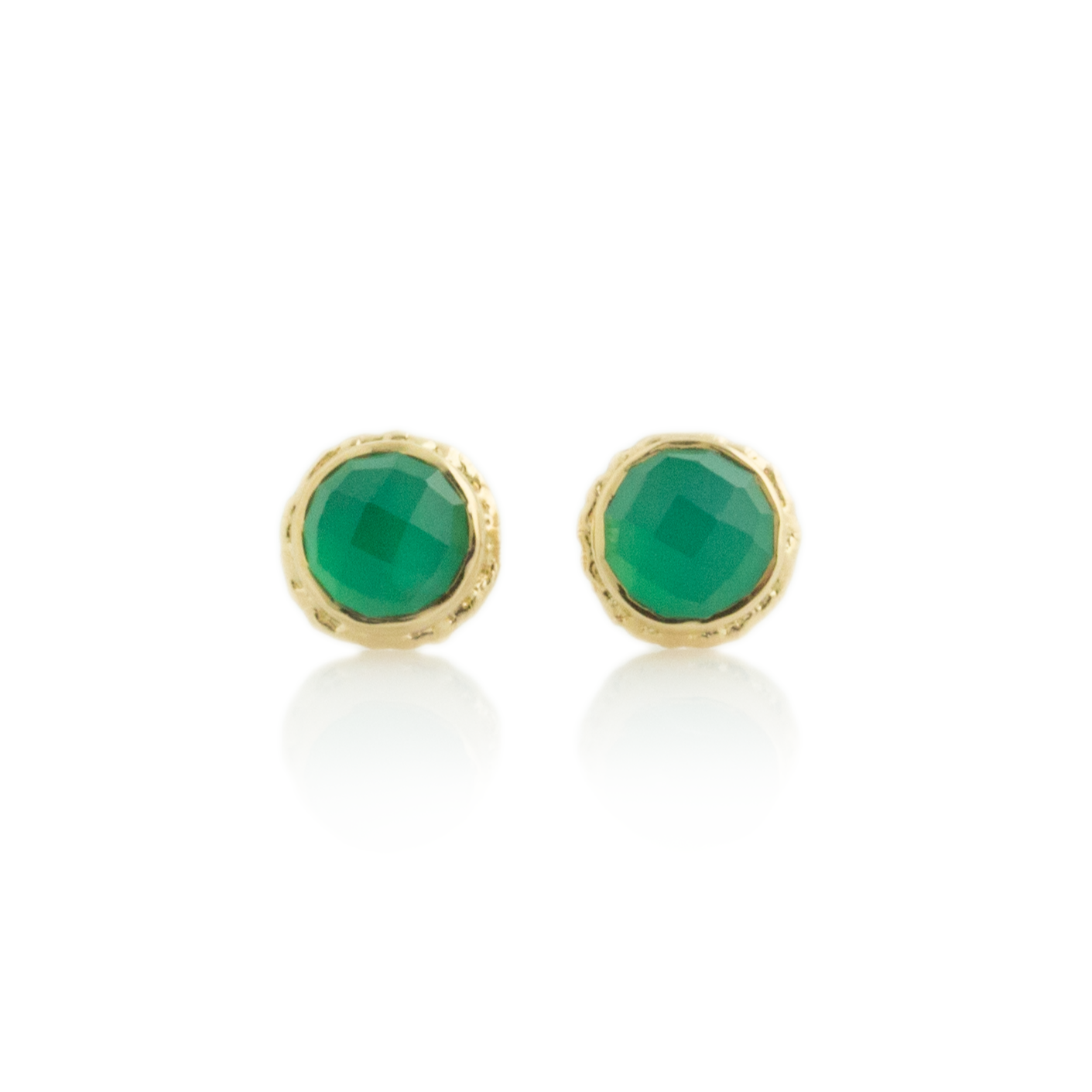 14K Gold Green Onyx Post Earrings