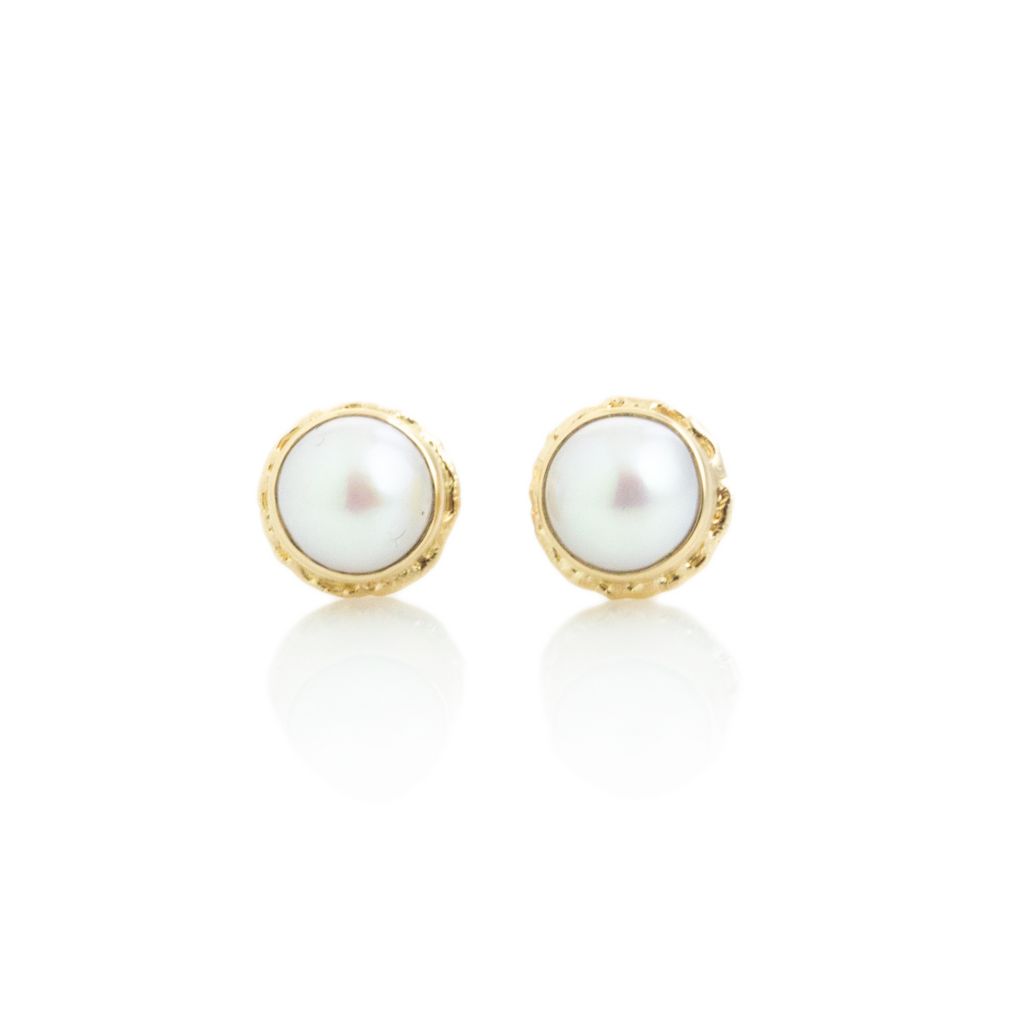 14K Gold Pearl Post Earrings