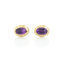 Load image into Gallery viewer, 14K Gold Oval Amethyst Post Earrings