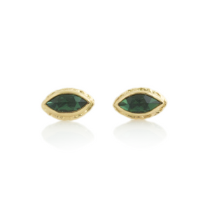 14K Gold Blue Green Tourmaline Post Earrings