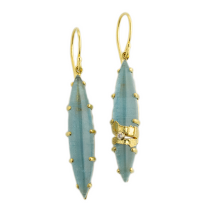 22K Golden Joinery Aquamarine & Diamond Prong Earrings