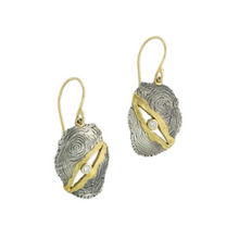 Load image into Gallery viewer, Oxidized Sterling & 18K Gold Diamond Oval Woodcut Earrings