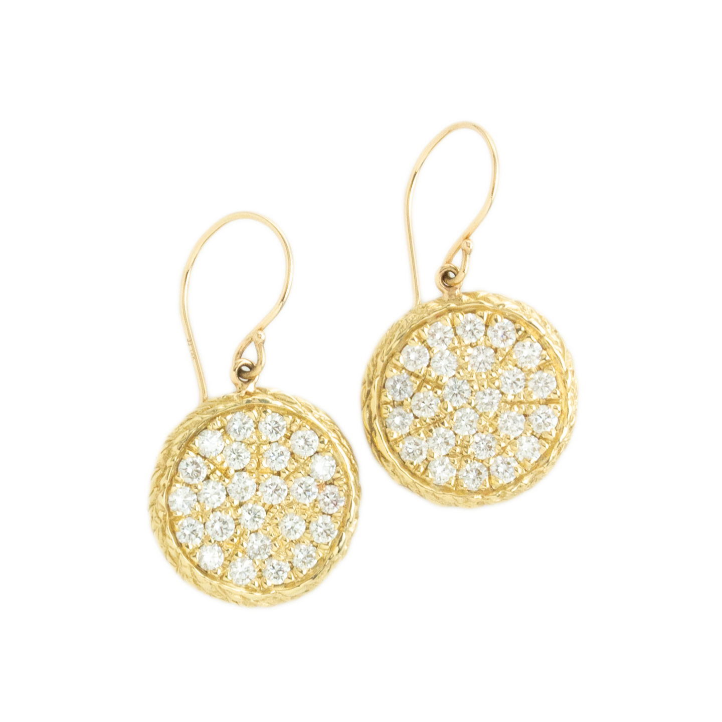 14K Gold Large Wisteria Diamond Pave Earrings