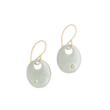Load image into Gallery viewer, Sterling & 14K Gold Diamond Disc Earrings