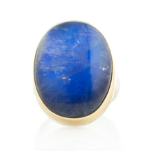 Load image into Gallery viewer, Sterling & 14K Gold Blue Rainbow Moonstone Ring