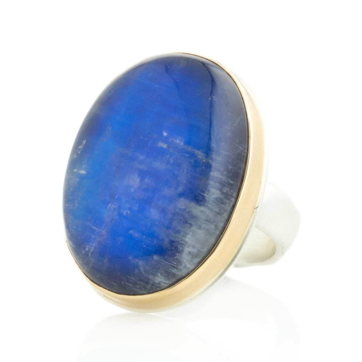 Sterling & 14K Gold Blue Rainbow Moonstone Ring