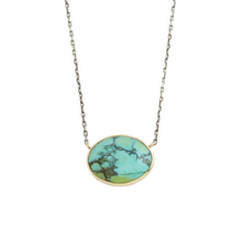 Load image into Gallery viewer, Oxidized Sterling & 14K Gold Hubei Turquoise Necklace