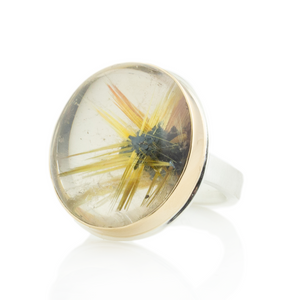Sterling & 14K Gold Star Rutilated Quartz Ring