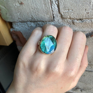 Sterling & 14K Gold Blue Green Tourmaline Ring