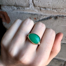Load image into Gallery viewer, Sterling & 14K Gold Asymmetrical Chrysoprase Ring