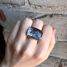 Load image into Gallery viewer, Sterling & 14K Gold Rectangular Tourmalinated Quartz Ring