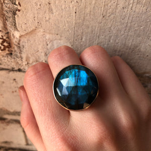 Sterling & 14K Gold Large Round Labradorite Ring