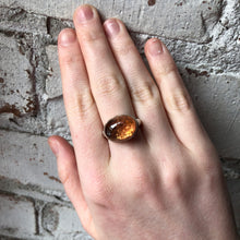 Load image into Gallery viewer, Sterling & 14K Gold Oval Imperial Topaz Ring