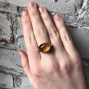 Sterling & 14K Gold Oval Imperial Topaz Ring