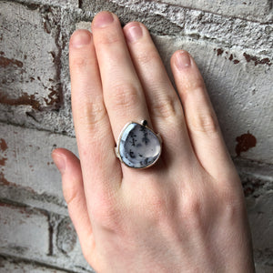 Sterling & 14K Gold Teardrop Dendritic Opal & Black Diamond Ring