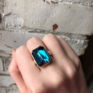 Sterling & 14K Gold Rectangular London Blue Topaz Ring