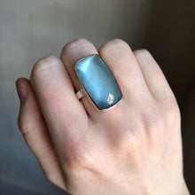 Load image into Gallery viewer, Sterling & 14K Rose Gold Rectangular Aquamarine Ring