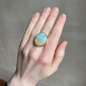 Sterling & 14K Gold Oval Blue Indonesian Fossilized Opalized Wood & Diamond Ring