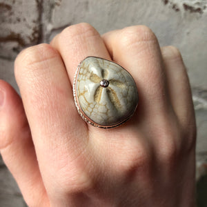 Sterling & 14K Rose Gold Large Fossilized Sea Urchin & Diamond Ring