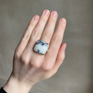 Sterling & 14K Gold Square Dendritic Opal & Black Diamond Ring
