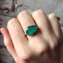 Load image into Gallery viewer, Sterling & 14K Gold Teardrop Emerald Ring