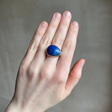 Load image into Gallery viewer, Sterling & 14K Gold Teardrop Lapis Ring