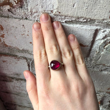 Load image into Gallery viewer, Sterling & 14K Gold Teardrop African Ruby Ring