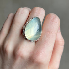 Load image into Gallery viewer, Sterling Lava Edge & 14K Rose Gold Teardrop Green Moonstone Ring