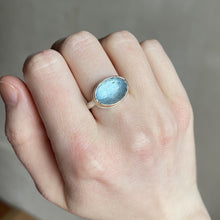 Load image into Gallery viewer, Sterling & 14K Gold Oval Aquamarine Ring